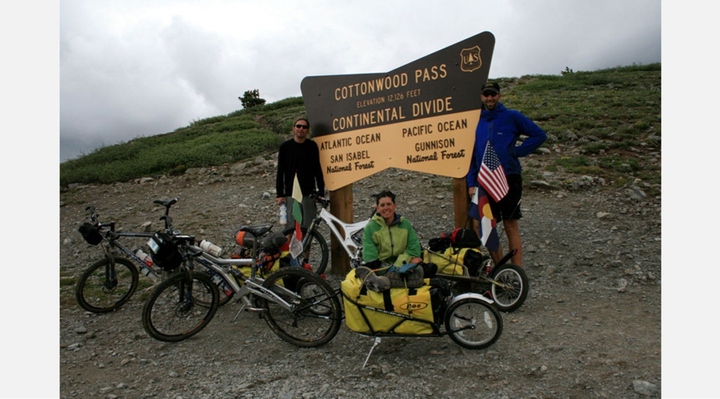 Leslie with her husband Chris(right) and good friend Scott at the top of Cottonwood Pass. Colorado. Photo: Leslie Kehmeier Collection