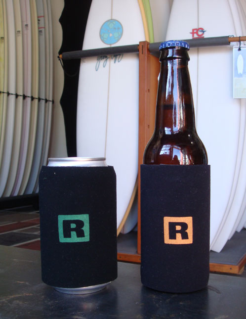 FCD R2 and R3 beer cozies made from reclaimed Patagonia wetsuits