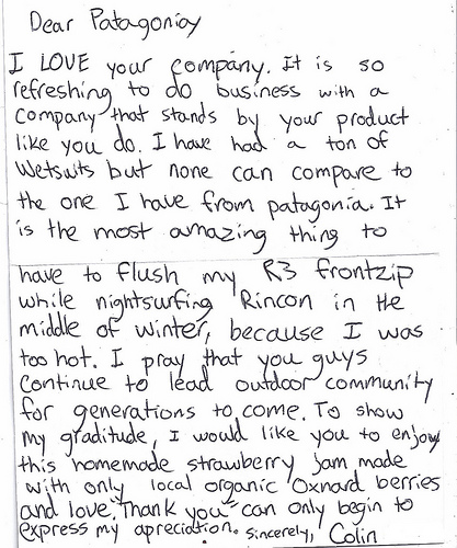 Thank you letter from customer