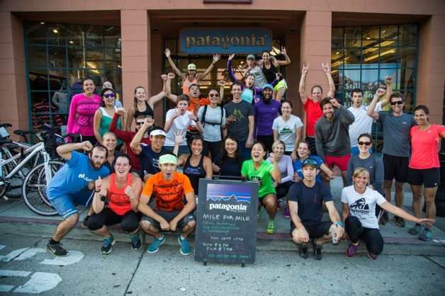 Patagonia staff and community at the Patagonia San Francisco store join together for a group run before a Mile for Mile screening (September 2015). Photo: James Q Martin