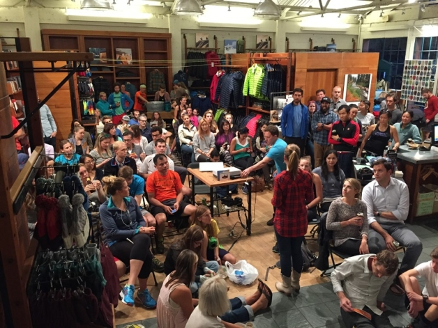 Donations from store screenings and online exposure brought in over $50,000 for the Mile for Mile campaign. Patagonia San Francisco's community packed the house and enjoyed a raffle of goodies. Photo: Patagonia San Francisco