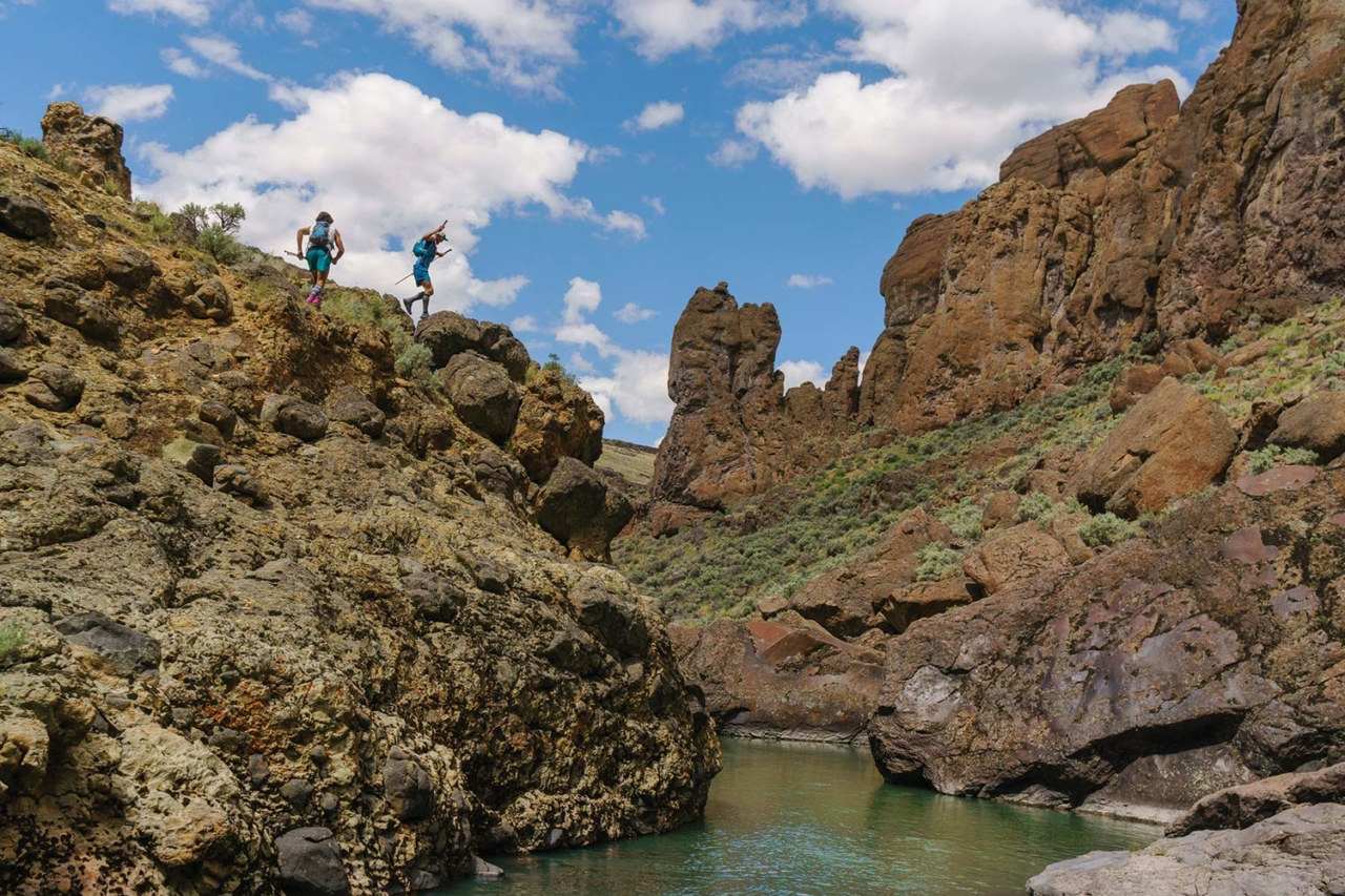 """The ODT route crisscrosses the river repeatedly through the narrowing canyons. We reveled in the expansive views of the three zigzagging gorges that make up the North, Middle and South Forks of the Owyhee. I sang """"All Time Low"""" by Widespread Panic. Little did we know, we were just about there. Photo: Fredrik Marmsater"""