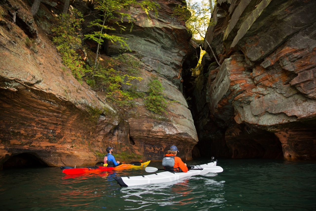 Kayaking around the sandstone cliffs in the Apostle Islands. Photo: Colin McCarthy