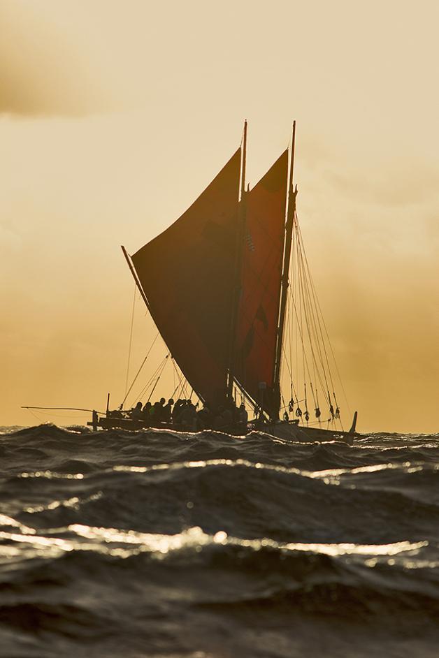 Hōkūle'a on the road to Taputapuātea. Photo: John Bilderback