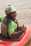 Amina Tayona, one of two female safety kayakers on the White Nile. Photo: Marcus Farnfield