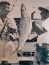 Saunders and Jerry Lavenstein with the all-tackle world record bonefish. This image (photographer unknown) hangs in the Bimini Big Game Club, where Hemingway holed up, but Saunders was not allowed entry. Years later, thanks to the work of Saunders, equality came to the club—and Bimini. Photo: Brian Irwin