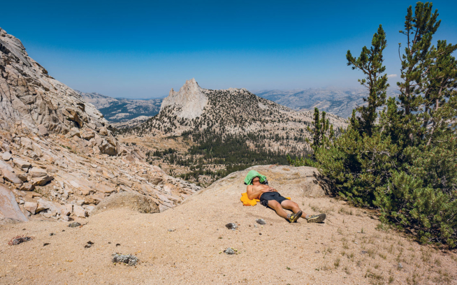 Walker Ferguson laid low by a high-quality effort. Tuolumne Meadows, California. Photo: Jeff Johnson