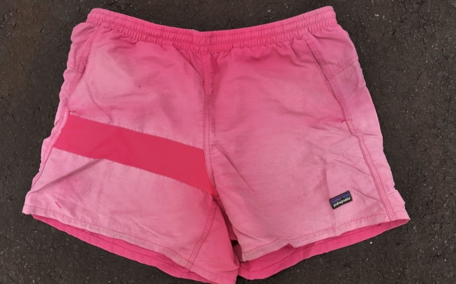 """After the AT and PCT, I discovered one tiny hole from a campfire in my shorts. Patagonia repaired them for free, no questions asked, with a new pink patch."" Photo: Laura Johnston"
