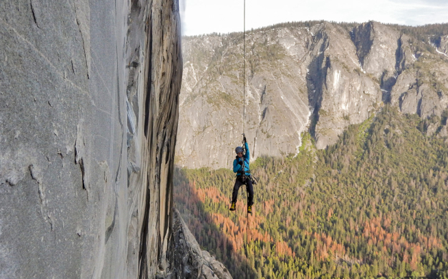 If you love something, set it free. Eliza Kerr watches daughter Calliope (13) as she lowers herself out and begins to jug the infamous Nipple Pitch during the first known mother-daughter ascent of the Zodiac, El Capitan. Yosemite National Park, California. Photo: Eliza Kerr
