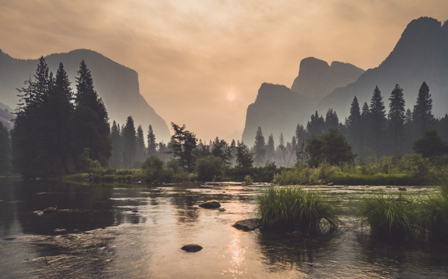 Yosemite Valley moments before rangers were forced to evacuate the park due to the Ferguson fire. Photo: Eric Bissell