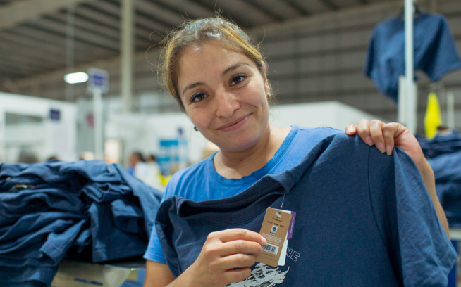 Thirty-five-year-old mother of three Adriana Robles has been working at Vertical Knits, a Fair Trade Certified™ garment factory in Baca, Yucatan, Mexico, since 2012. Photo: James Rodriguez