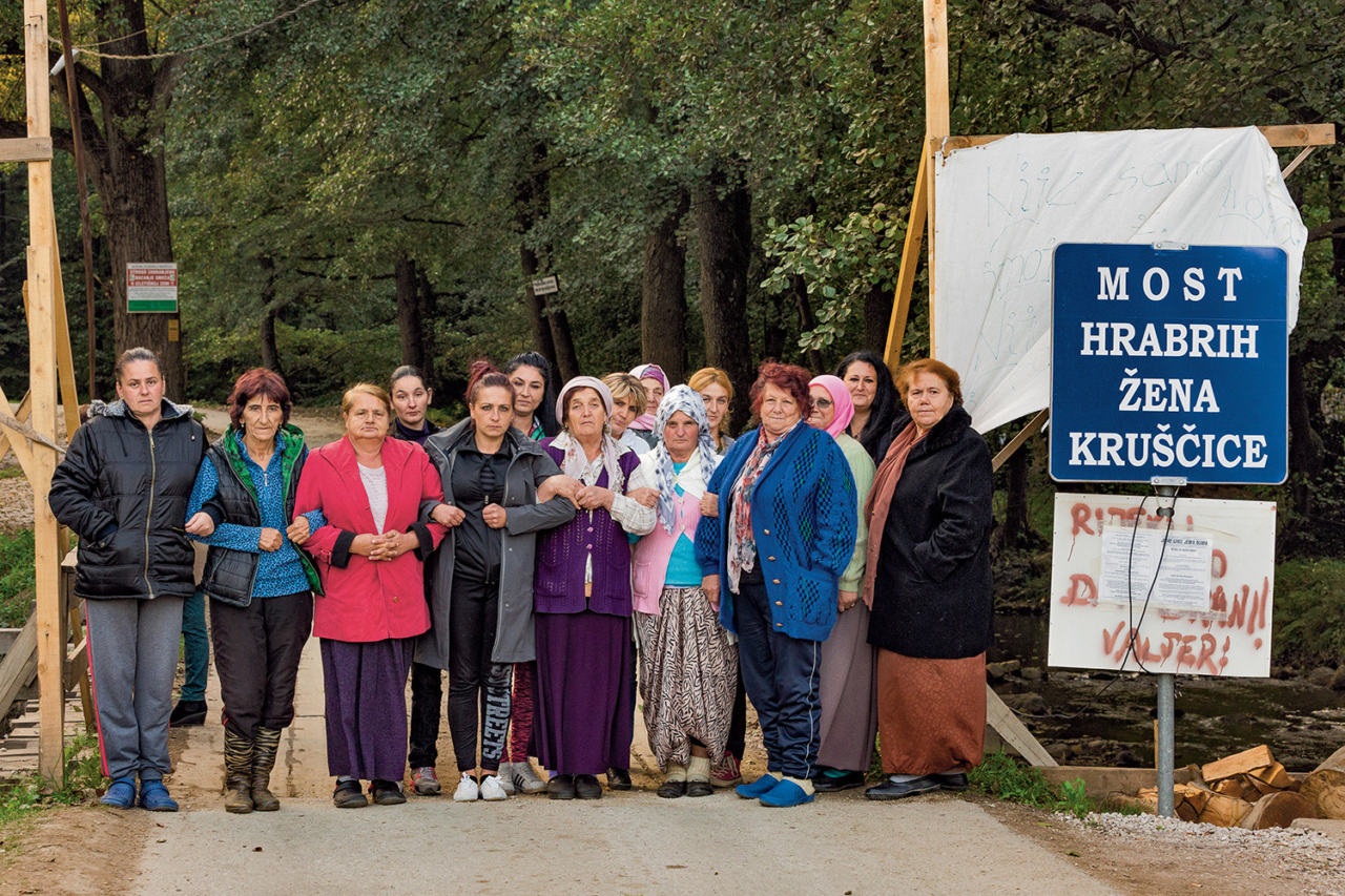 """The Bridge of the Brave Women of Kruščica"" at their outpost where they have been protesting since August 3, 2017. Photo: Andrew Burr"