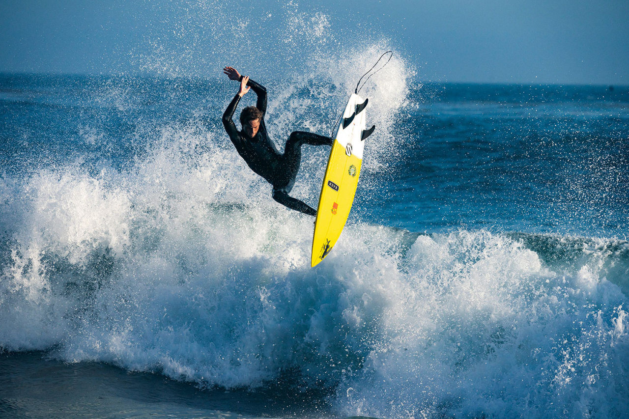 Progression in board design has always relied on close collaboration between creatively minded shapers and surfers. Quinten Rubalcava launches north of Los Angeles, California. Photo: Scott Soens