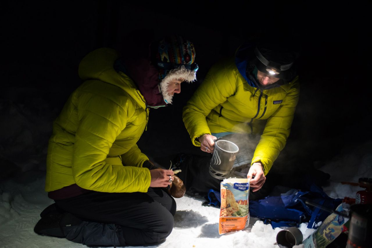Leah Evans and Marie-France Roy are dedicated to staying warm. That usually meant multiple layers of insulation and plenty of hot meals once the sun went down and temperatures dipped into the teens. Photo: Colin Wiseman