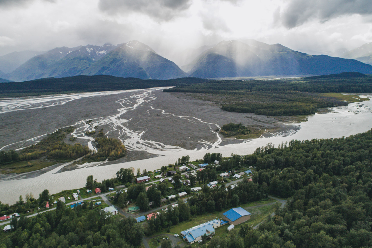 """Klukwan means """"eternal village"""" in the Tlingit language, and it sits on the bank of the Chilkat River where the braided Tsirku River enters. Photo: Connor Gallagher"""