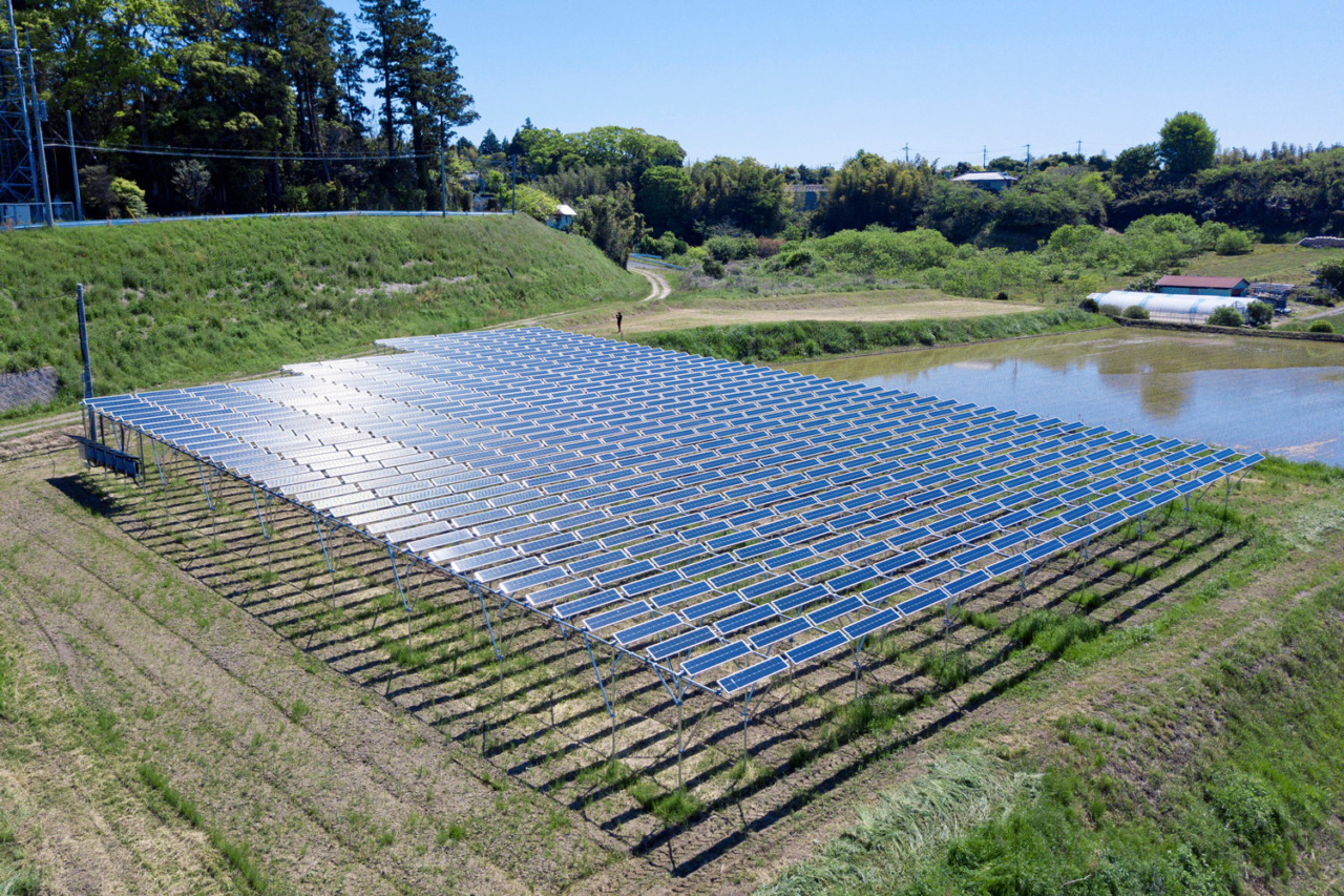 To get to net zero, we have to use offsets, like sponsoring this project in Chiba Prefecture, Japan. Solar sharing allows farmers to simultaneously grow crops and harness energy from the sun. Photo: Patagonia Japan
