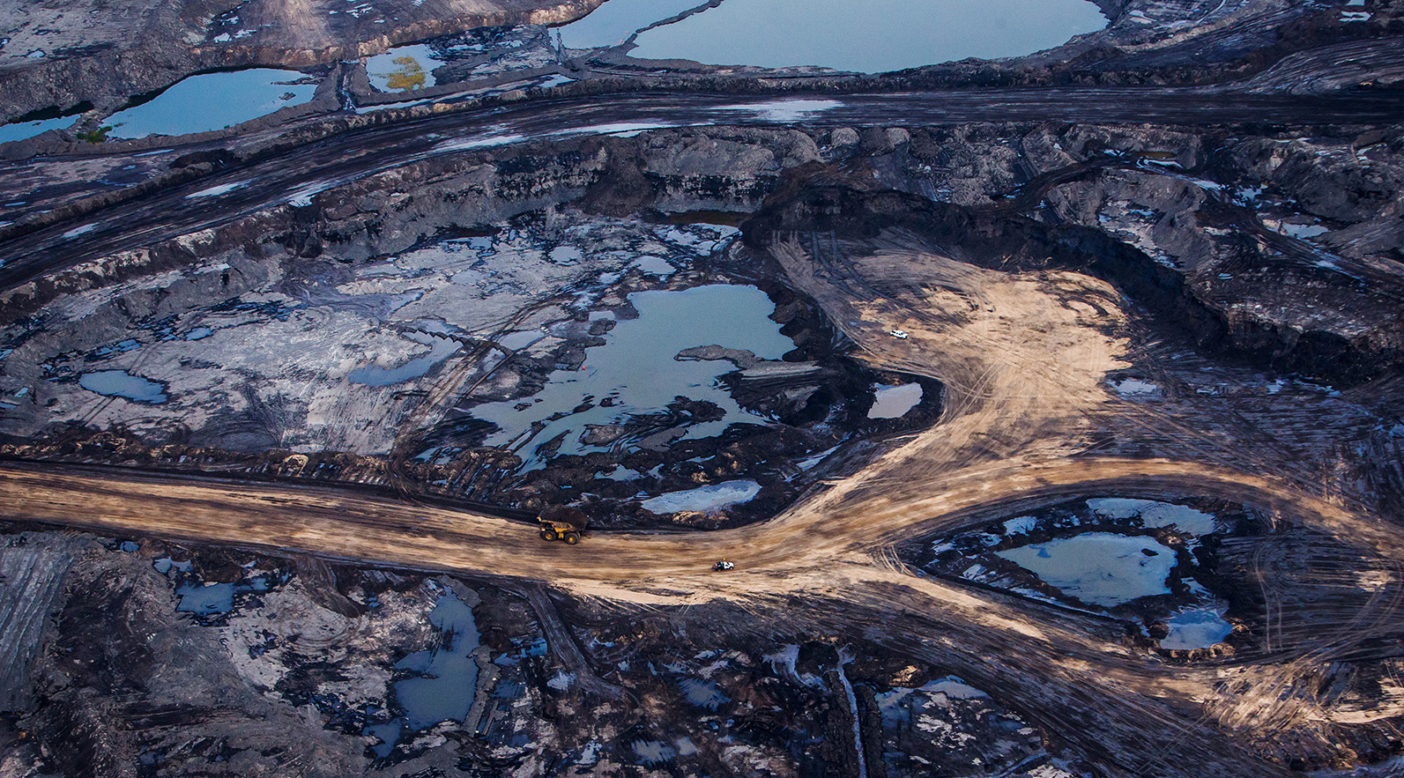 The Athabasca oil sands near Fort McMurray, Alberta, Canada. Tar sands are heavy crude oil deposits found mixed with sand, clay and water, which need to be removed through extensive processing. Mining this oil is destructive to the land, carries a heavy carbon footprint and can release toxic by-products. Photo: Ben Nelms/Getty Images