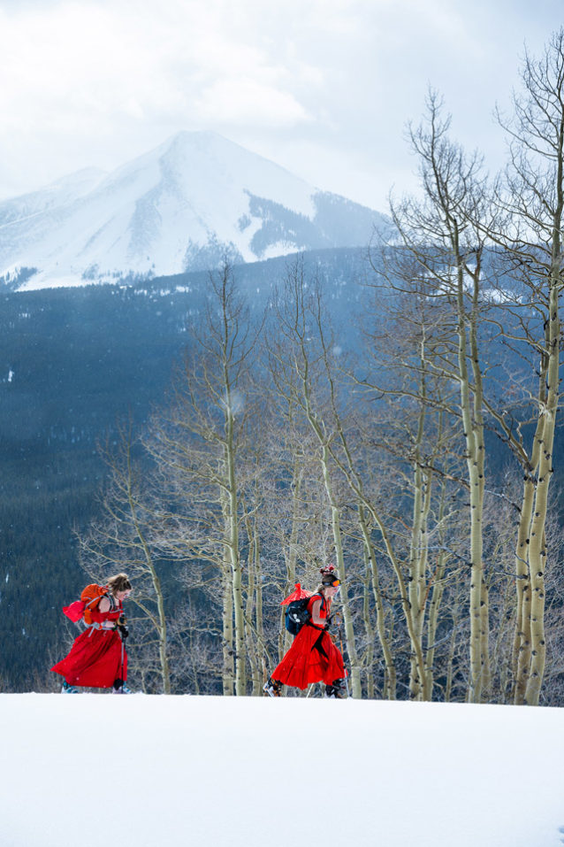 Shea Wilson (left) and Crystal Kotowski-Edmunds (Red Lady #37) perfect breathable layering systems of lace and polyester as they weave through the aspen-studded flanks of Red Lady. Photo: Forest Woodward