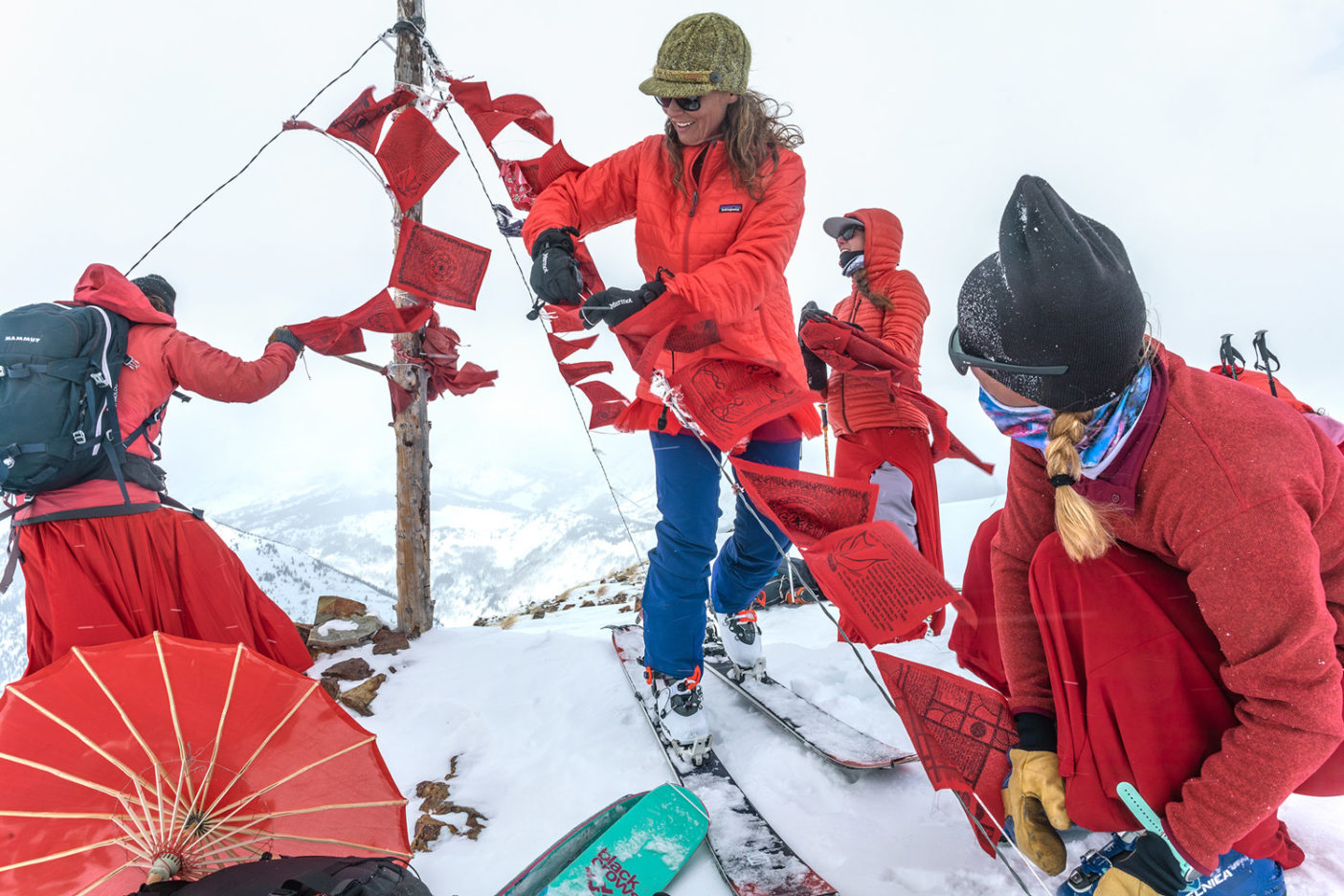 Fueled by a purpose beyond themselves and with a love of their home, these Red Lady skiers laugh their way through cold gusts, face-stinging snow and variable (shit) skiing. Photo: Forest Woodward
