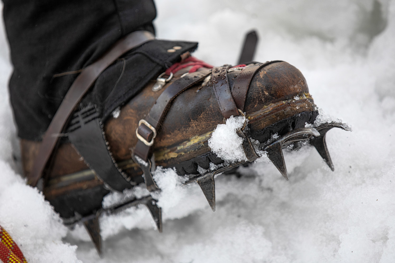 Original crampons with new leather straps.