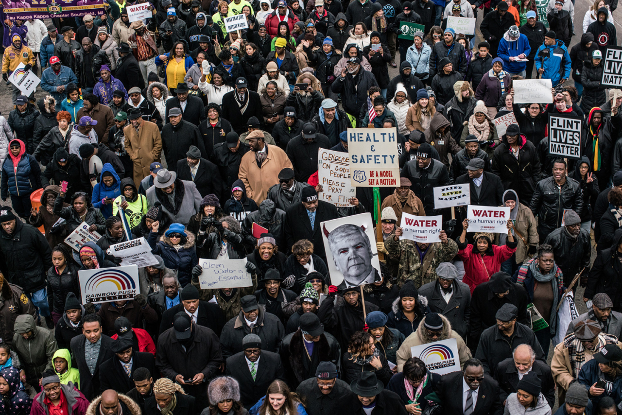 Water is a human right. On February 19th, 2016, Reverend Jesse Jackson led more than 500 people past the abandoned General Motors plants and to the Flint Water tower in protest of the water crisis in Flint, Michigan. Photo: Zack Canepari