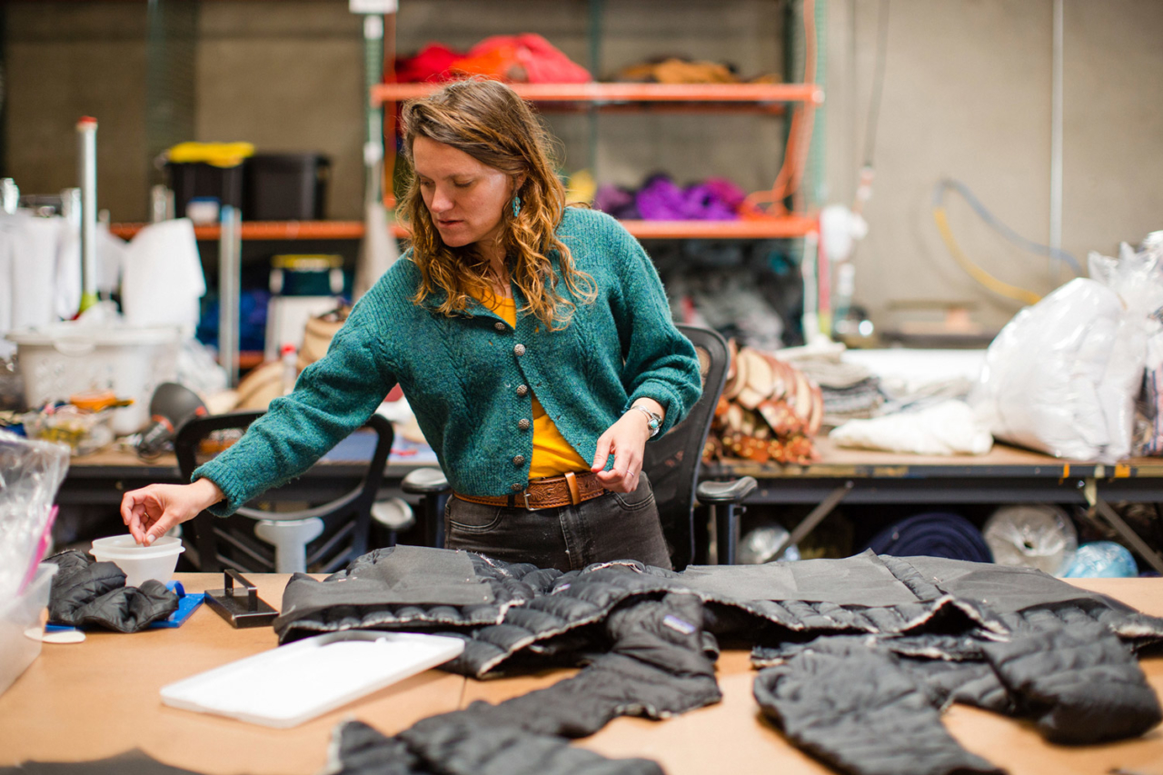 Lindsay Rose Medoff is the owner of Suay, a sewing shop in Los Angeles that utilizes scraps of used garments collected at our Worn Wear facility in Reno for our ReCrafted line. Photo: Kern Ducote