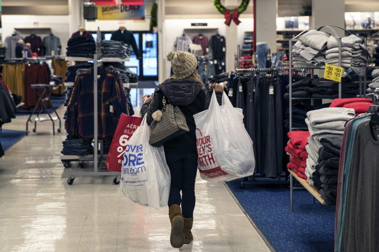 Rampant consumerism between Thanksgiving and Cyber Monday is a terrible time for the planet. A shopper on Black Friday at the Newport Centre Mall in Jersey City, New Jersey. Photo: Victor J. Blue/Getty Images