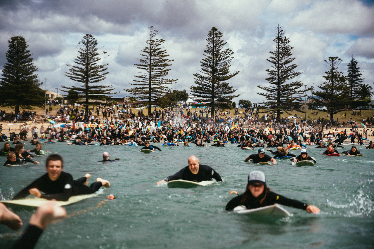On the National Day of Action, 20,000 people in 60 coastal towns paddled out to protest Equinor's plans to drill in the Bight. It was the largest coastal environmental action Australia has ever seen. JARRAH LYNCH