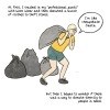 """Me carrying a trash bag full of clothes. Narration: At first, I sold my """"professional Patagonia pants"""" back to Worn Wear and then donated a bunch of clothes to thrift stores. But then I began to wonder if there was a way to donate directly to people in need."""