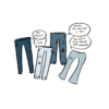 """Four illustrated pairs of light blue jeans with bruises on them stand around talking. """"Hey, boot cut!"""" """"Hi, sum."""" """"Low rise, love your look, so '90s!"""" """"You look a little patchy there, boyfriend."""""""