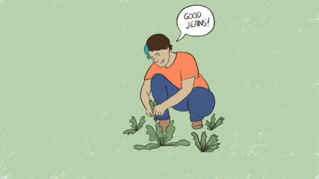 Illustration of a person wearing an orange shirt and blue jeans kneeling in their garden picking lettuce.