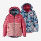 Girls' Reversible Down Sweater Hoody, Range Pink (RAPI)