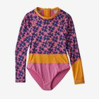 Girls' Long-Sleeved Shell Seeker Rashguard One-Piece - Pollen Confetti Small: Marble Pink (PCMP)