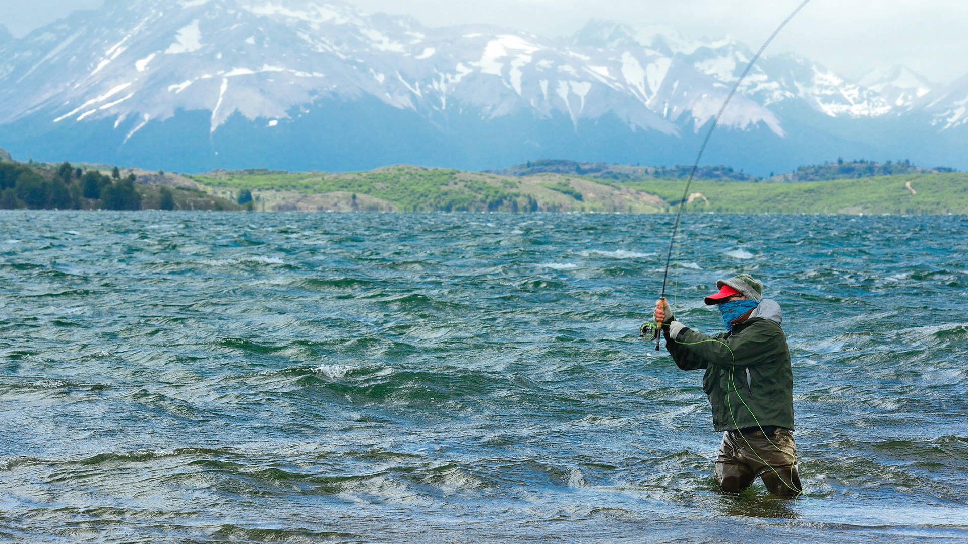 The dream of a mind-blowing rainbow trout gives Ben Beale a second wind on Lago Tres Valles, Argentina. BERRY AND CATHY BECK