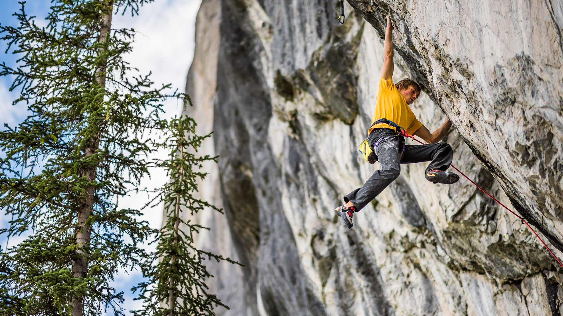 Alex Megos becomes the sole member to date of Fightclub (5.15b), Canada's hardest route. Alberta, Canada. KEN ETZEL
